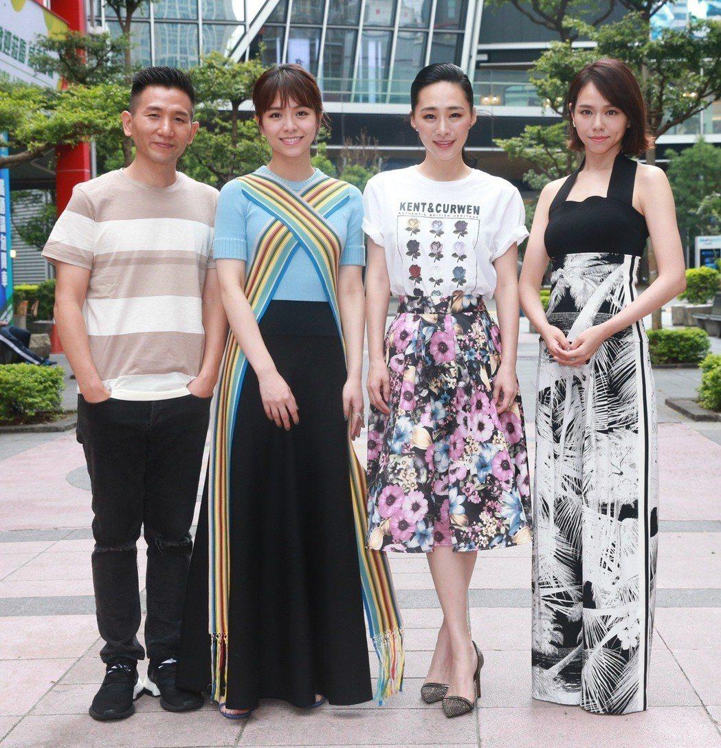 「灼人秘密」導演趙德胤(左起)、演員宋芸樺、吳可熙、夏于喬。記者黃義書/攝影