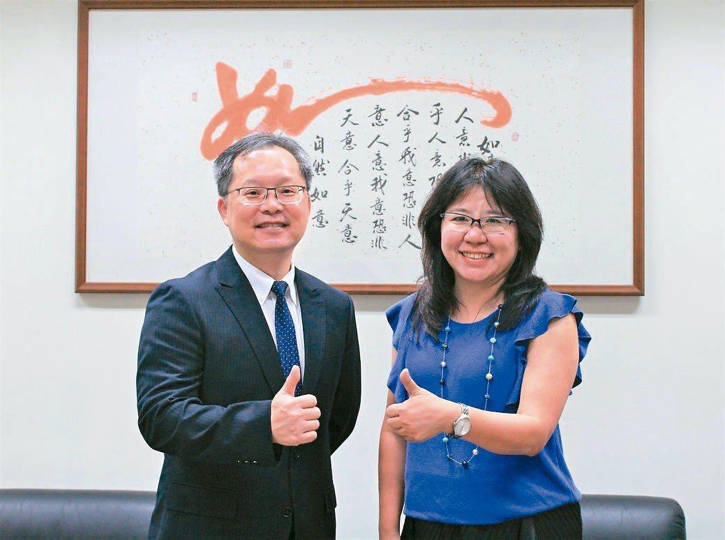 華夏科大校長陳錫圭(左)與產業研發處處長蘇聖珠,對於全台第一個智慧車輛系充滿信心...