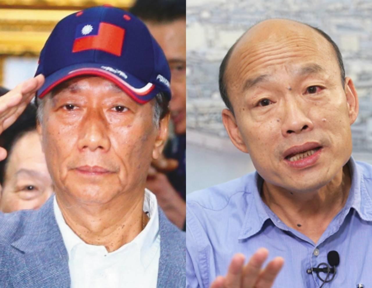 國民黨總統初選參選人郭台銘與高雄市長韓國瑜。本報資料照