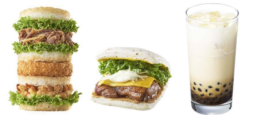 海陸饗宴珍珠堡(左)售價200元;歡喜福堡(中)售價95元;黑糖珍珠牛奶(右)售...