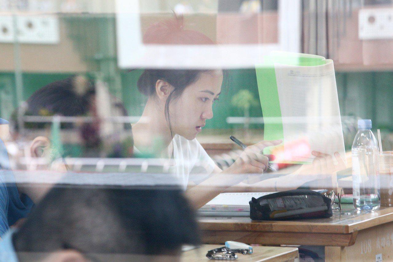 指考登場,考生把握考前的時間努力複習。記者蘇健忠/攝影