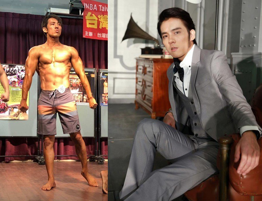張傑過去形象斯文,(圖右)如今操肌拿到自然健美組第二名(圖左)。圖/摘自臉書張傑