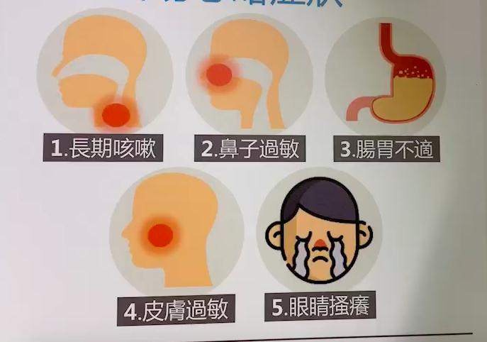 成人最常忽略的過敏症狀,有長期咳嗽、鼻子過敏、腸胃不適、皮膚過敏與眼睛掻癢 。...