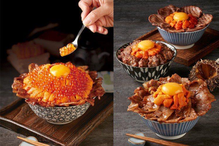 開丼新推出3款海膽與肉品組合的丼飯,每份490元。另還有使用200克海膽與鱒鮭魚...