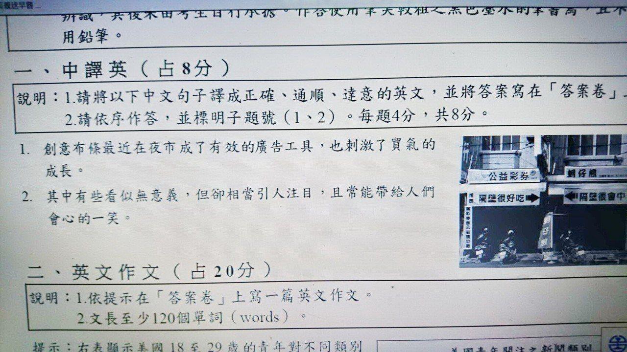 夜市的廣告布條也成了考題,考生認為很親切但卻很難寫。記者蔡維斌/翻攝