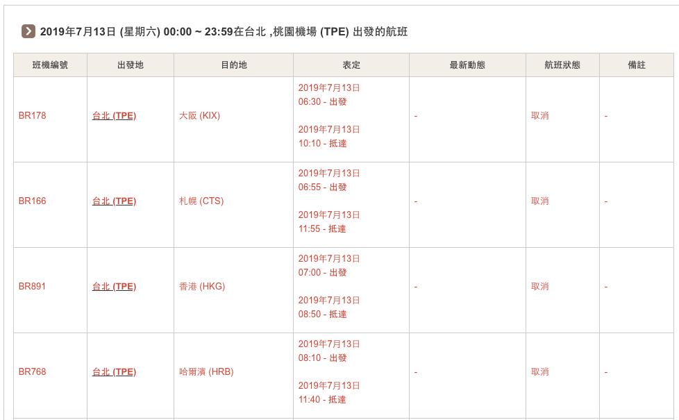 長榮公布7月11日後的取消航班。圖/取自長榮罷工專區