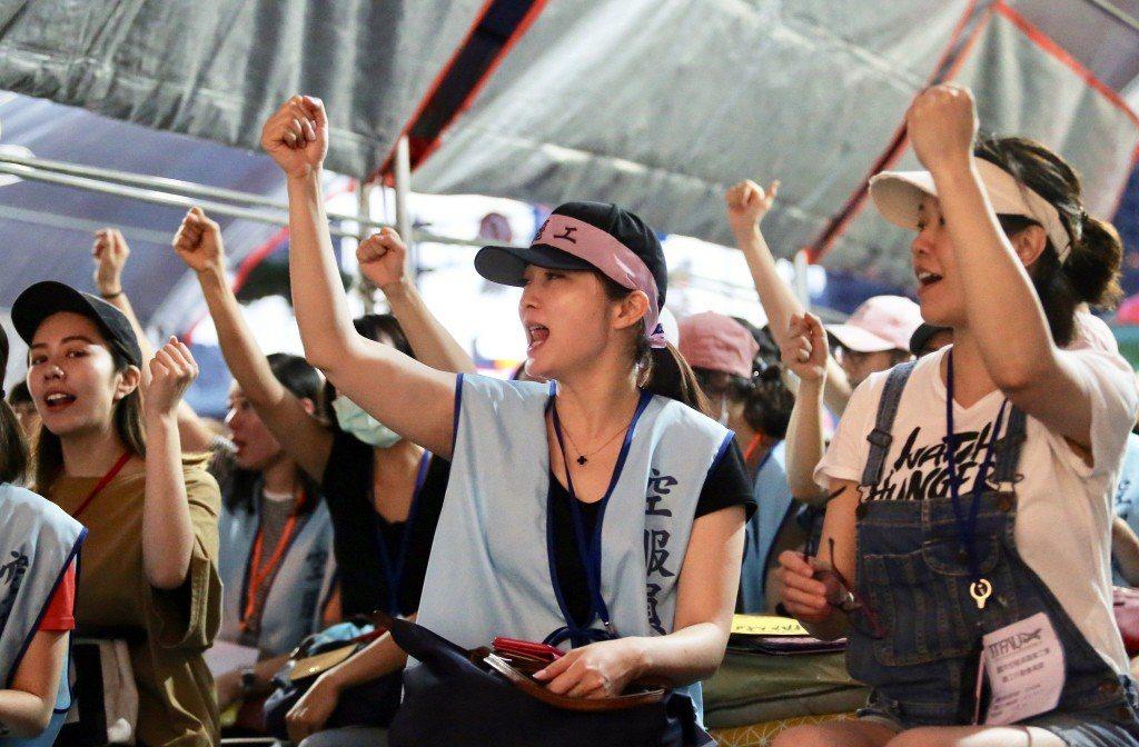 至7月3日止,長榮空服員罷工持續進行中。 圖/聯合報系資料照