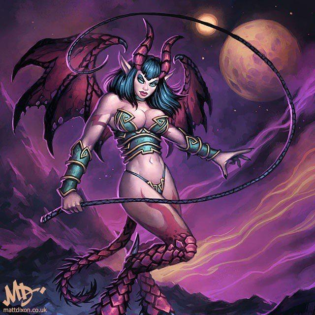 爐石「魅魔」原美術圖,我們懷念她。