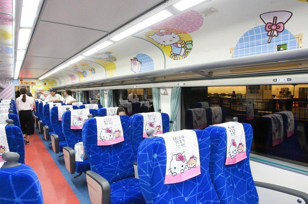 Hello Kitty列車從靠枕巾到天花板,都可見到Hello Kitty的元素...