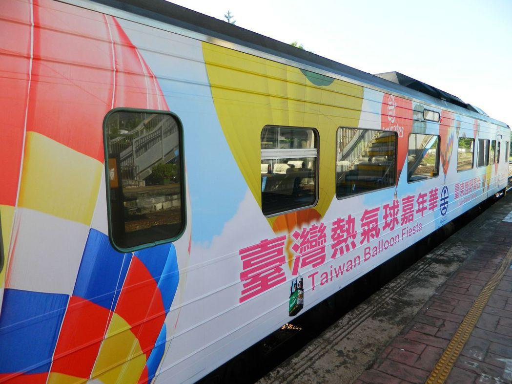 台東縣政府的熱氣球主題車廂。 圖/聯合報系資料照片
