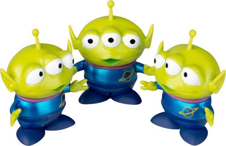 玩具總動員Q版公仔特別版-三眼怪金屬色款一組3個,眼睛看往不同方向的三眼怪一字排...