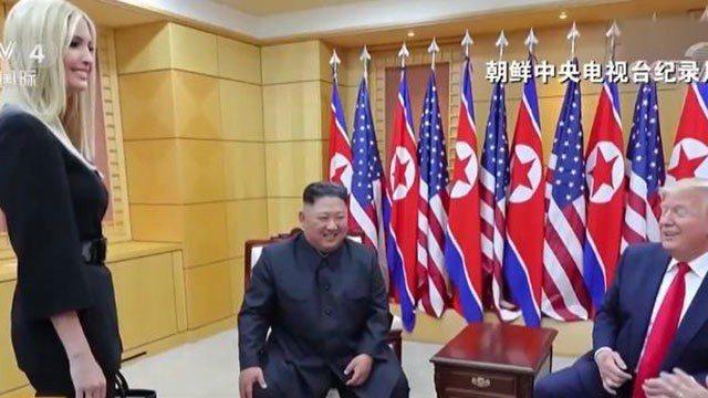 朝鮮(北韓)官方的中央電視台播出金正恩會晤川普和其女兒伊凡卡的獨家畫面。(央視網...