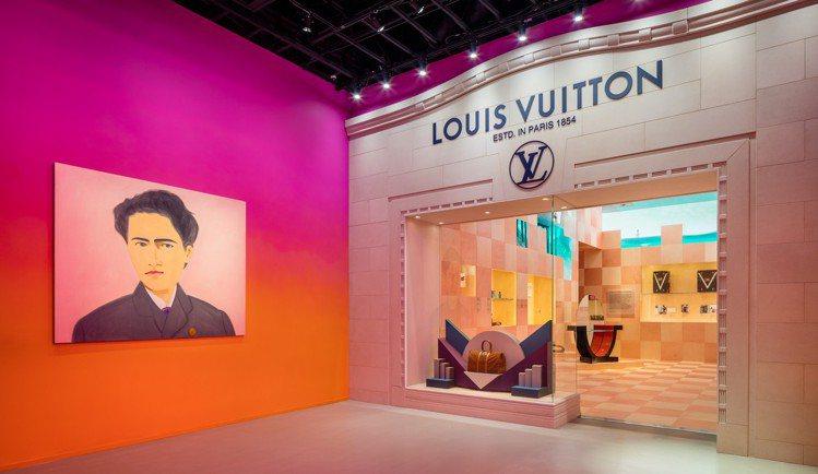 第一展間「路易威登:全新視野」,牆面是阿歷克斯.卡茨(Alex Katz)所繪《...