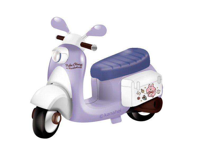 「卡娜赫拉的小動物」小機車模型經典復古-粉紅兔兔款。圖/7-ELEVEN提供