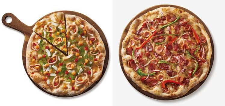 青醬黃金貝比薩(左)大比薩售價660元、法式燻鴨比薩(右)大比薩售價650元。圖...