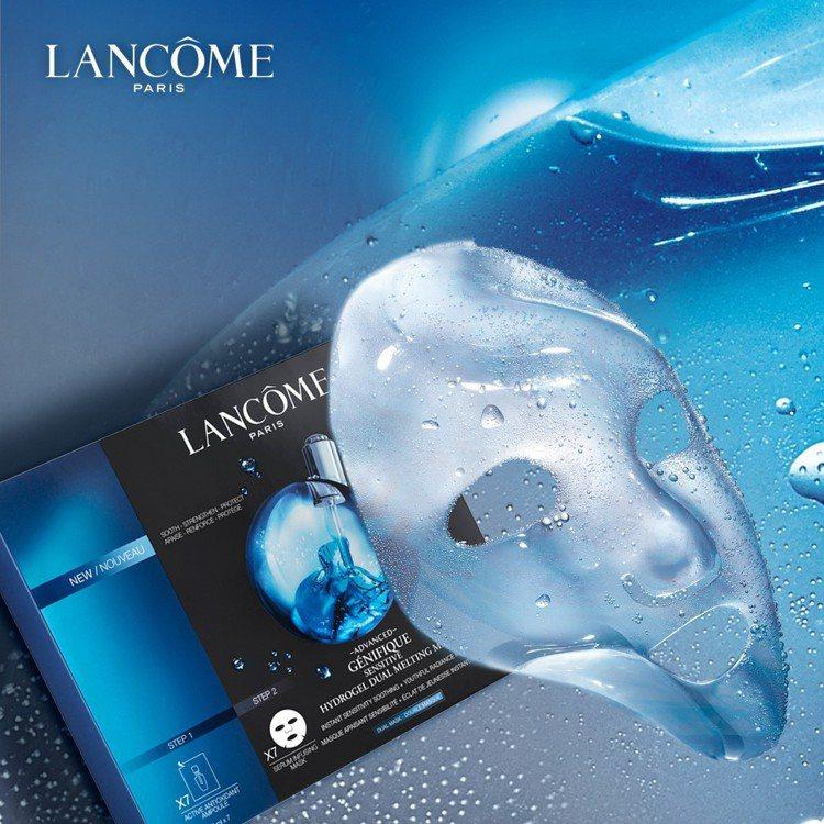 急速修護48hr水嫩發光的蘭蔻超進化肌因雙效安瓶面膜。圖/蘭蔻提供