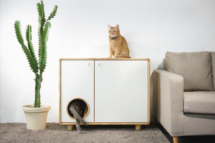 拍拍原木貓砂櫃,單盆售價13,800元、雙盆售價19,800元,HOLA「Pet...