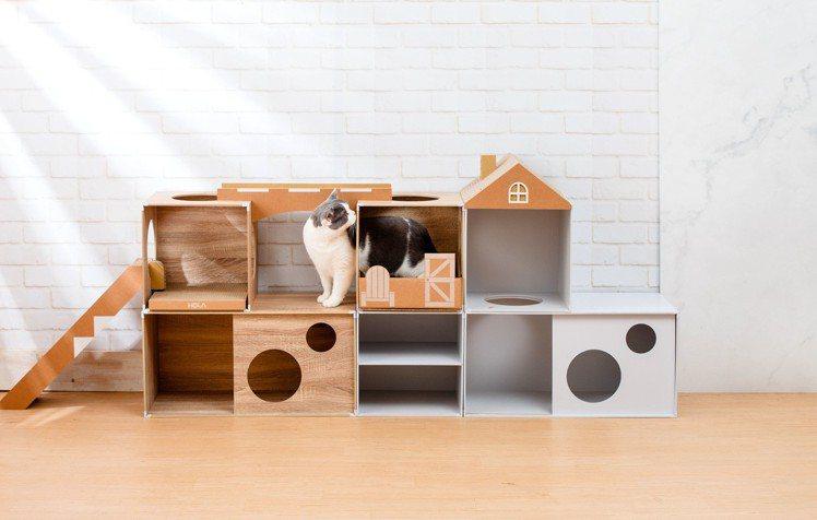 HOLA特力和樂自行設計開發的毛小孩格子櫃、貓抓板系列,7月5日至7月8日特價8...