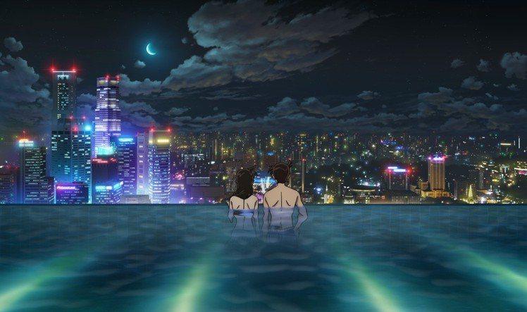 新一與小蘭在「濱海灣金沙酒店」頂樓無邊際泳池的浪漫約會場景。圖/電影商Prowa...
