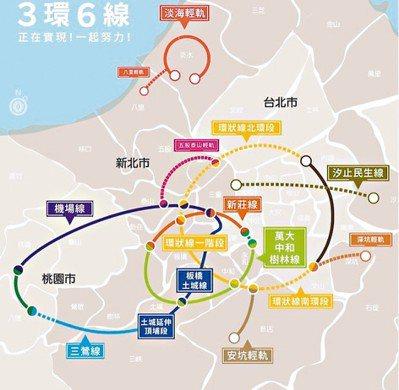 三環六線路線簡圖 取自新北市捷運局網站