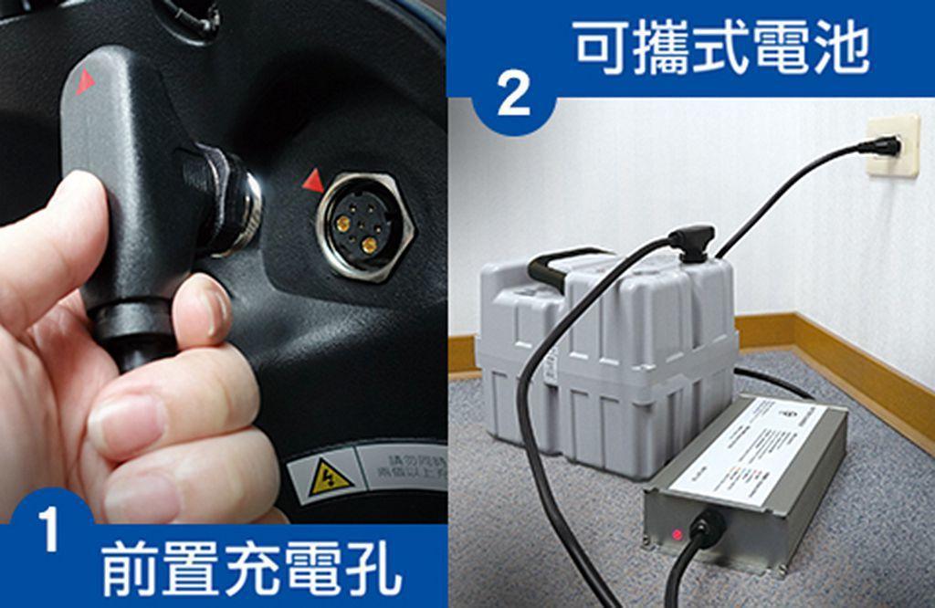台鈴eReady共有三種充電方式:1.前置充電孔、2.可攜式電池設計、3.使用政...