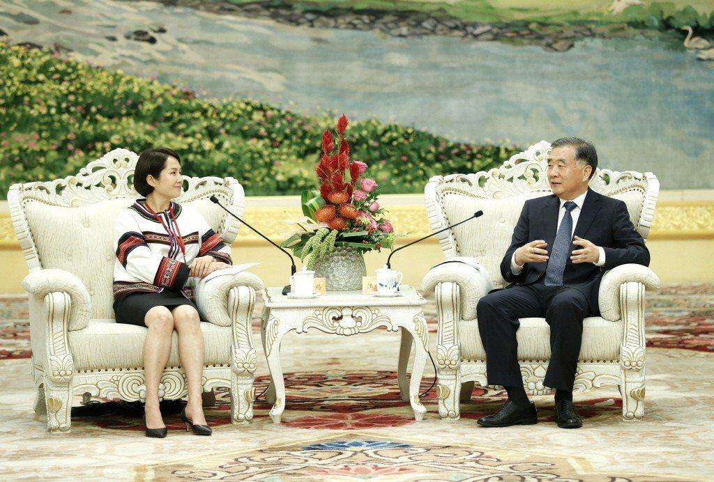 立委高金素梅日前會見中國政協主席汪洋,並達成5點倡議,遭輿論猛烈批評。 圖/中新...