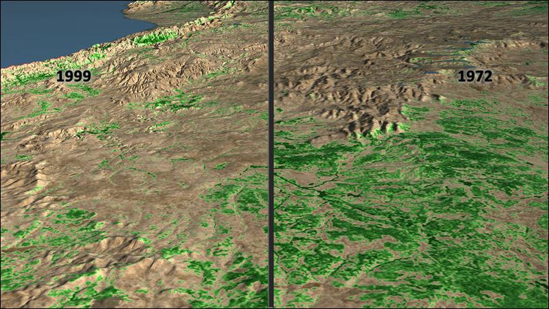非洲坦尚尼亞岡貝國家公園(Gombe National Park)周圍地區的空照圖,比對出1972年和1999年的森林覆蓋變化。 圖/取自NASA Landsat Science