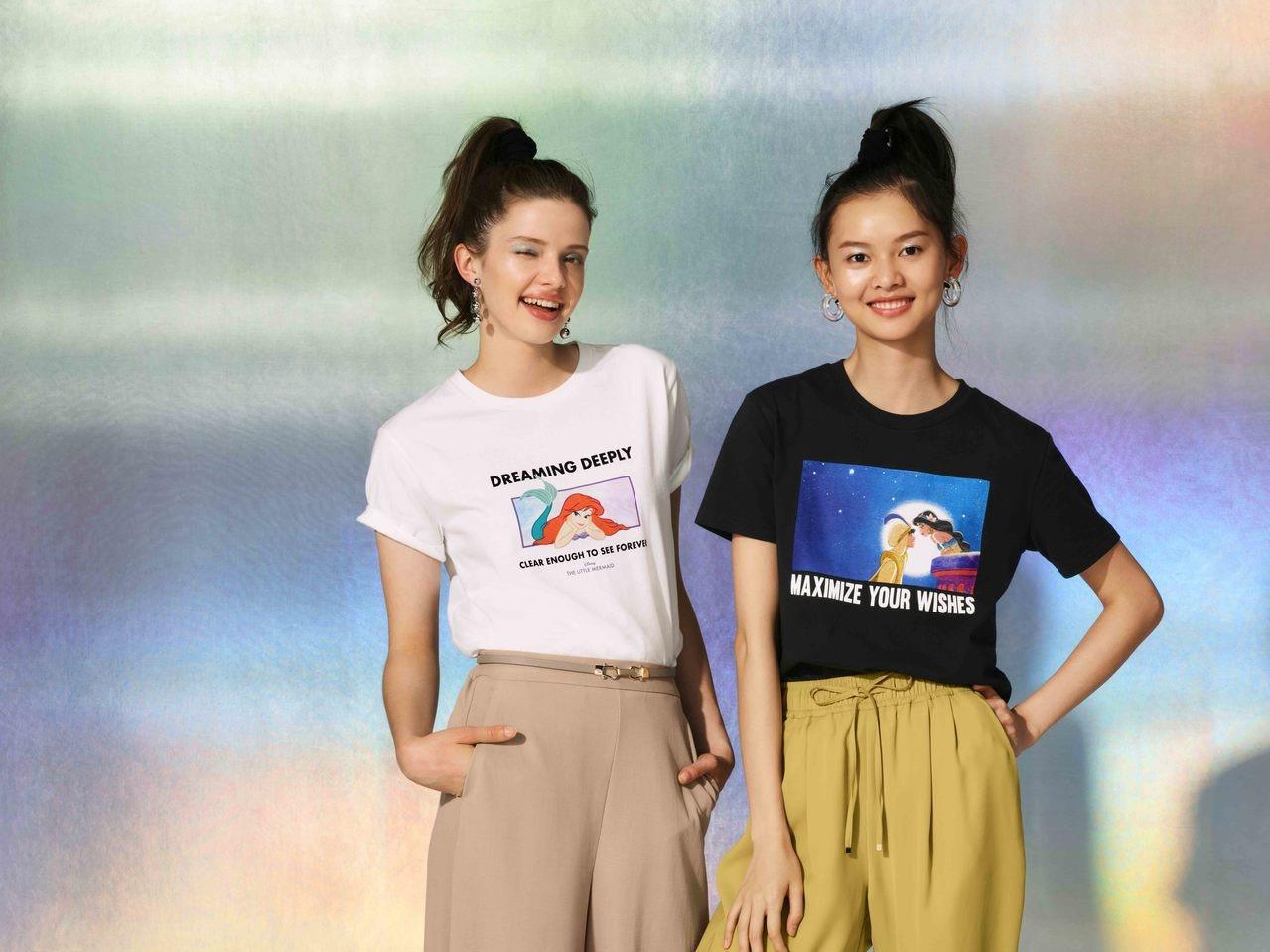 GU X Disney女裝印花T恤,售價290元。圖/GU提供