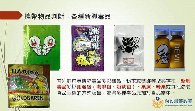 暑假到了,台南市警局犯罪預防宣導團提醒民眾注意「食品」包裝的毒品。圖/警方提供