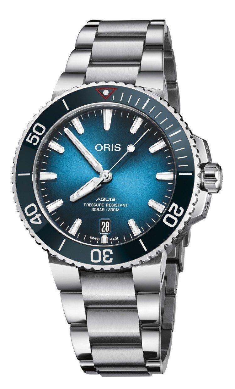 ORIS潔淨海洋限量腕表,不鏽鋼表殼、表鍊,搭配水藍色陶瓷表圈,限量2,000只...
