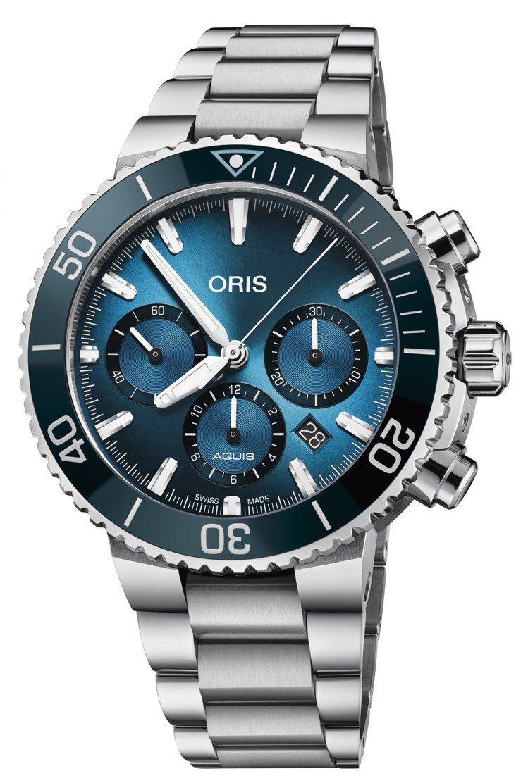 ORIS藍鯨限量計時碼表,不鏽鋼表殼、表鍊,具500公尺防水,表背鐫刻藍鯨圖案。...