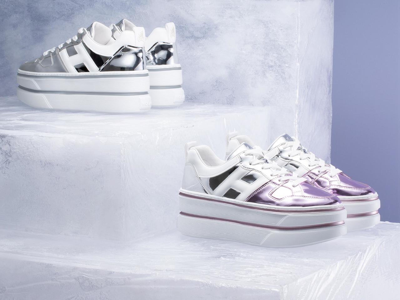 今年秋冬,HOGAN把充滿奇幻未來感的金屬色和珠光注入鞋身,讓MAXI CASS...