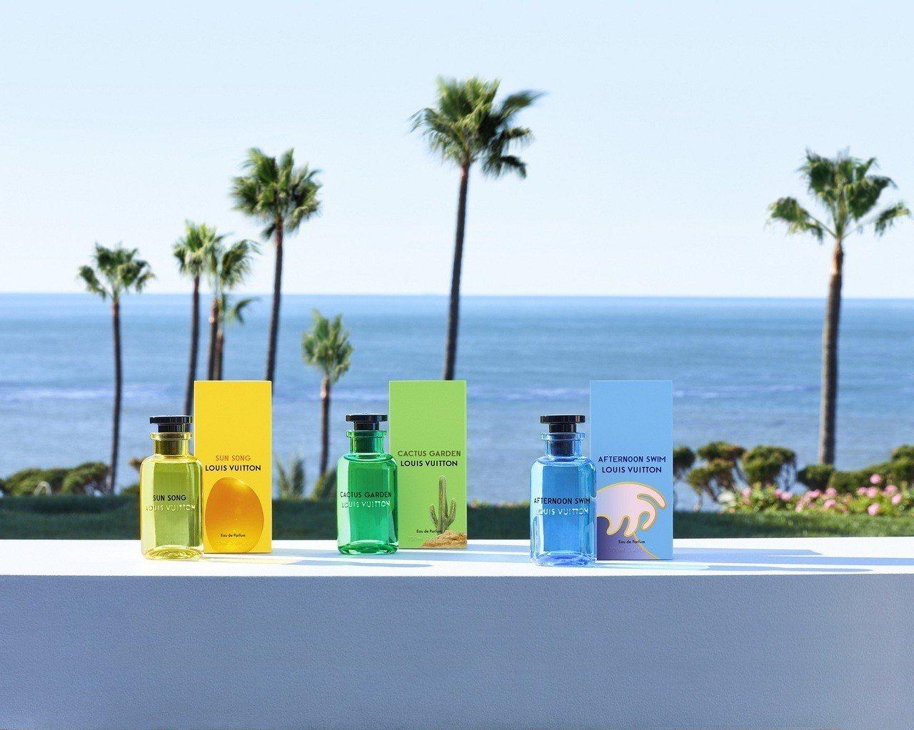 路易威登的三款古龍水外包裝也是出自艾力克斯.伊斯瑞爾的設計。圖/LV提供