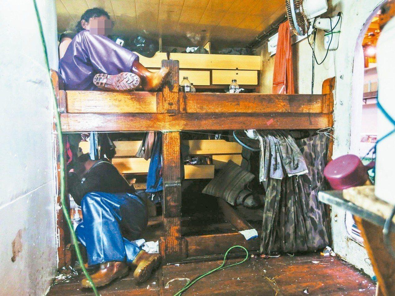 圖為漁船上臥室,空間狹小。 圖/聯合報系資料照片