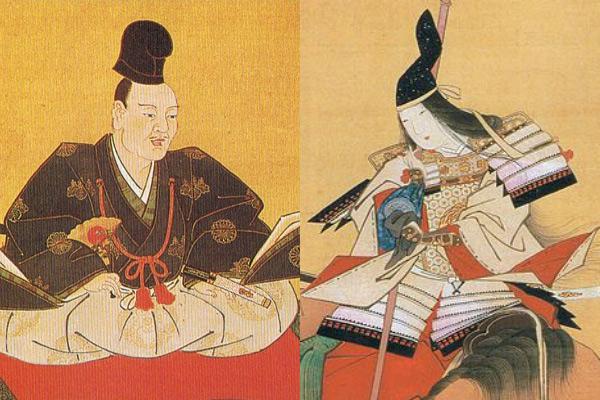 木曾義仲(左)、巴御前(右)形象圖,藏於東京國立博物館。