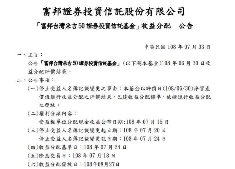 富邦台50訂7月18日除息。資料來源:富邦投信官網