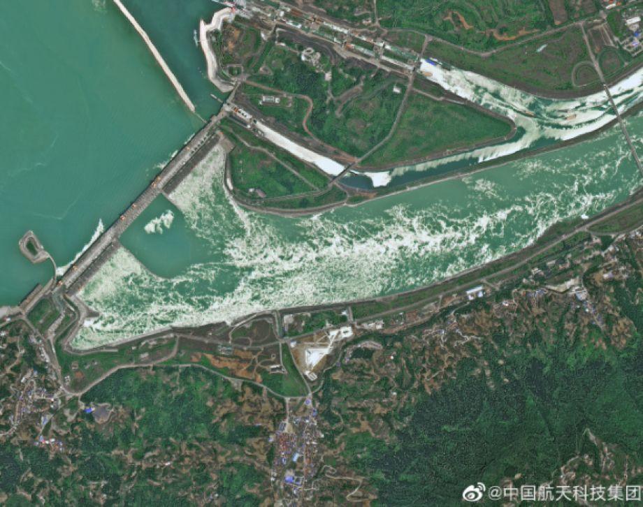 中國航太科技集團發出的三峽大壩衛星照片。圖:環球時報