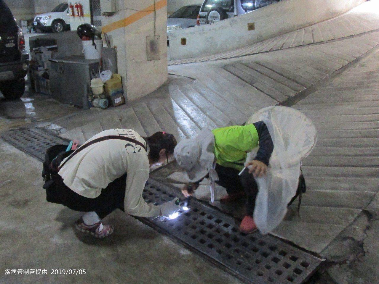 疾管署防疫人員於高雄市三民區本和里執行孳生源查核及預防性投藥。圖/疾管署提供