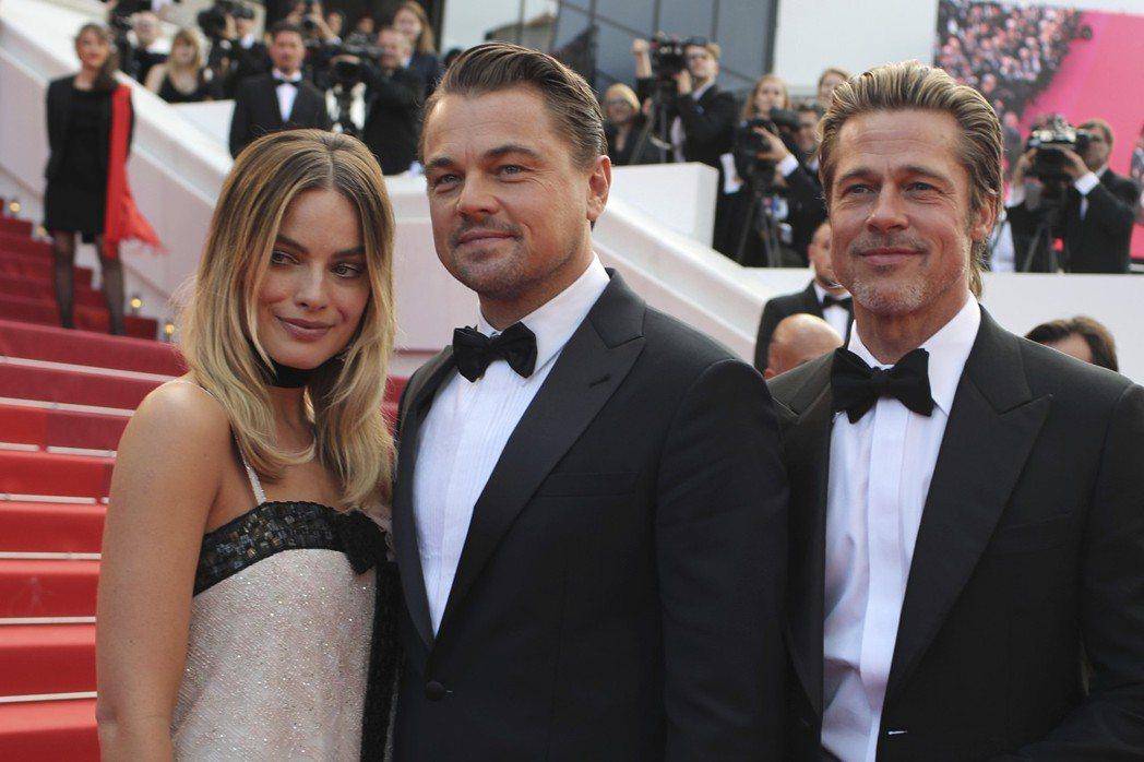 瑪格蘿比(左起)、李奧納多狄卡皮歐、布萊德彼特曾起前進坎城影展為「從前,有個好萊...
