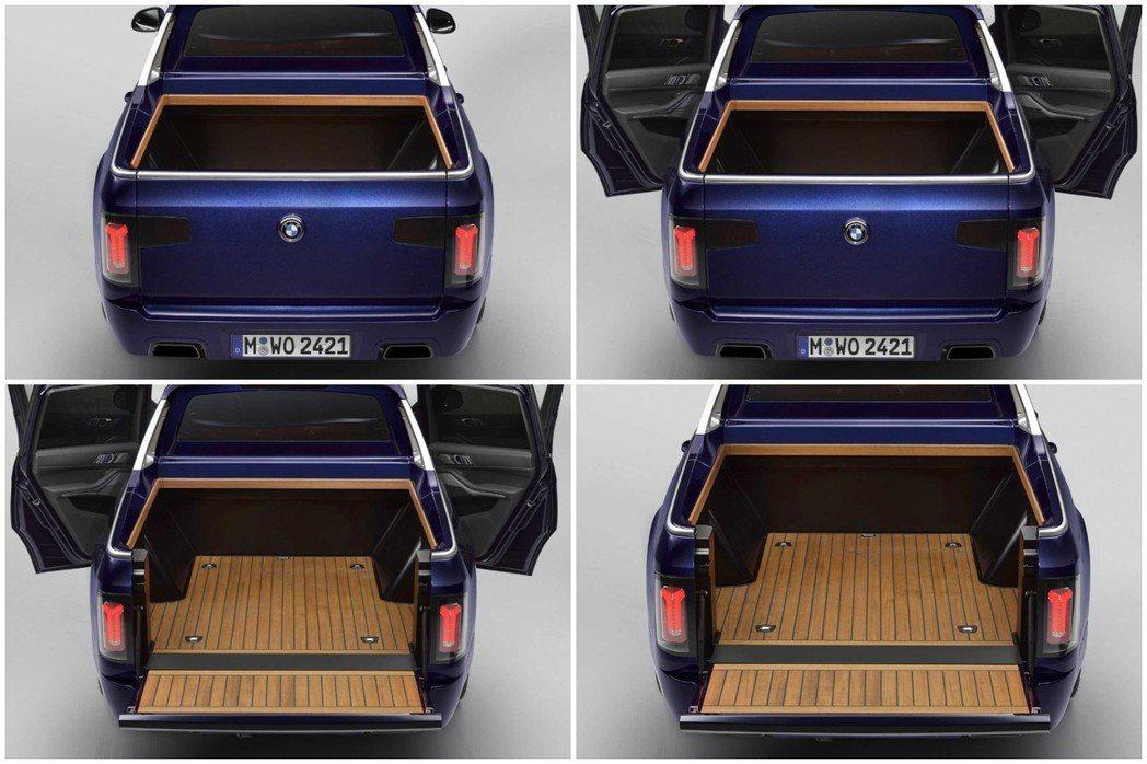 BMW X7 Pickup車身某些部件採用了CFRP碳纖維質料打造,讓他的車重比...