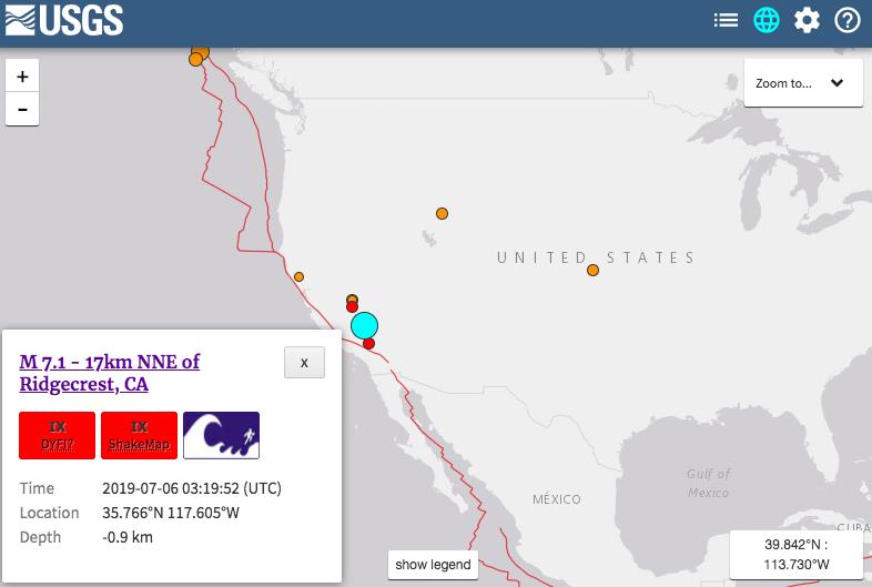 根據美國地質調查局(USGS)和歐洲地震監測中心,美國南加州5日晚間發生規模7....