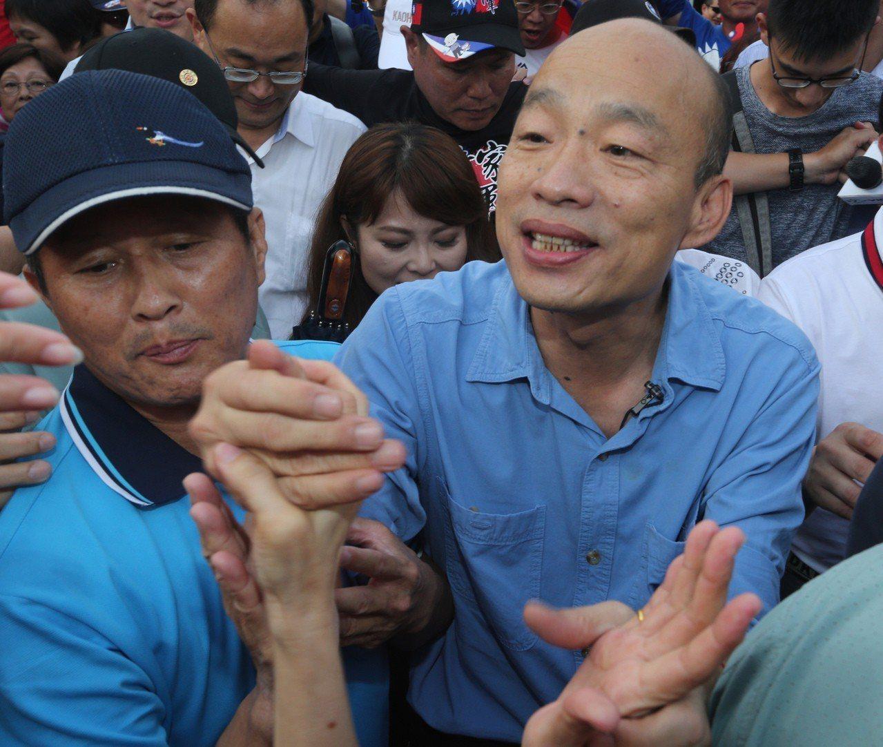 高雄市長韓國瑜看到那麼多支持者響應今天的高雄觀光日活動,又意外又感謝。記者劉學聖...