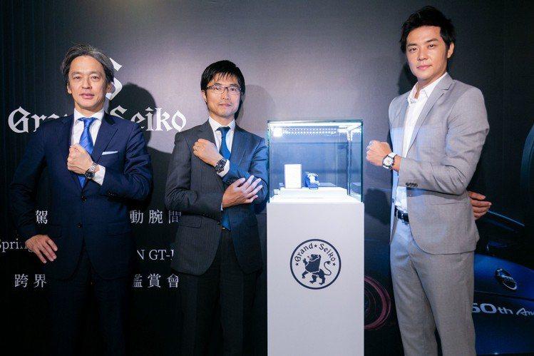 Seiko台灣總經理淺田先生(左)、設計師久保先生(中)以及藝人姚元浩,一同出席...