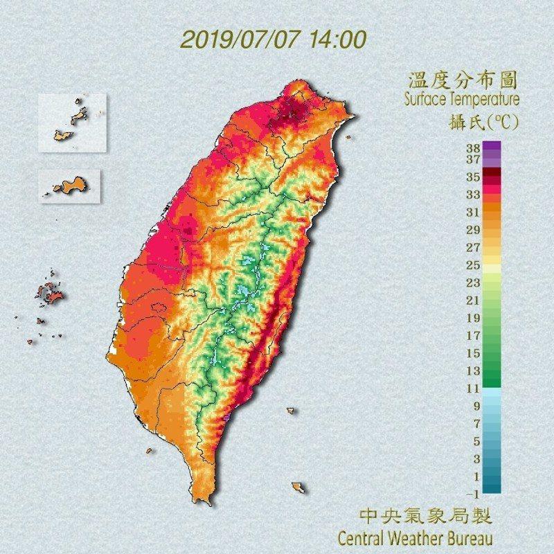 今天高溫炎熱。圖/取自氣象局網站