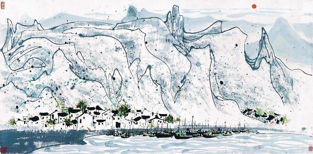 吳冠中畫作「旭日東昇」以287.5萬人民幣成交。 上海朵雲軒/提供