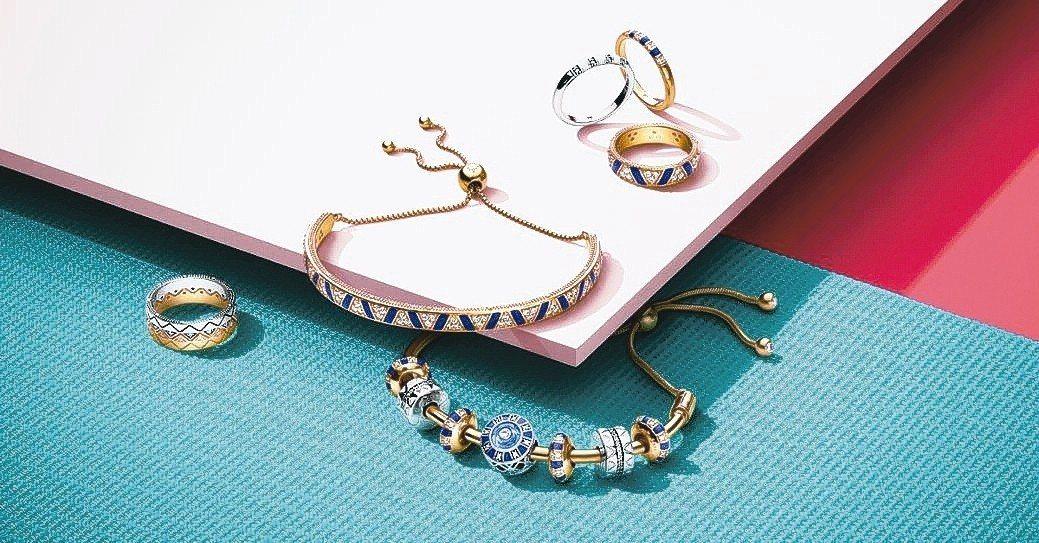 丹麥珠寶PANDORA夏季新作洋溢著異國情調,藍金相間的大膽配色、條紋及三角圖騰...