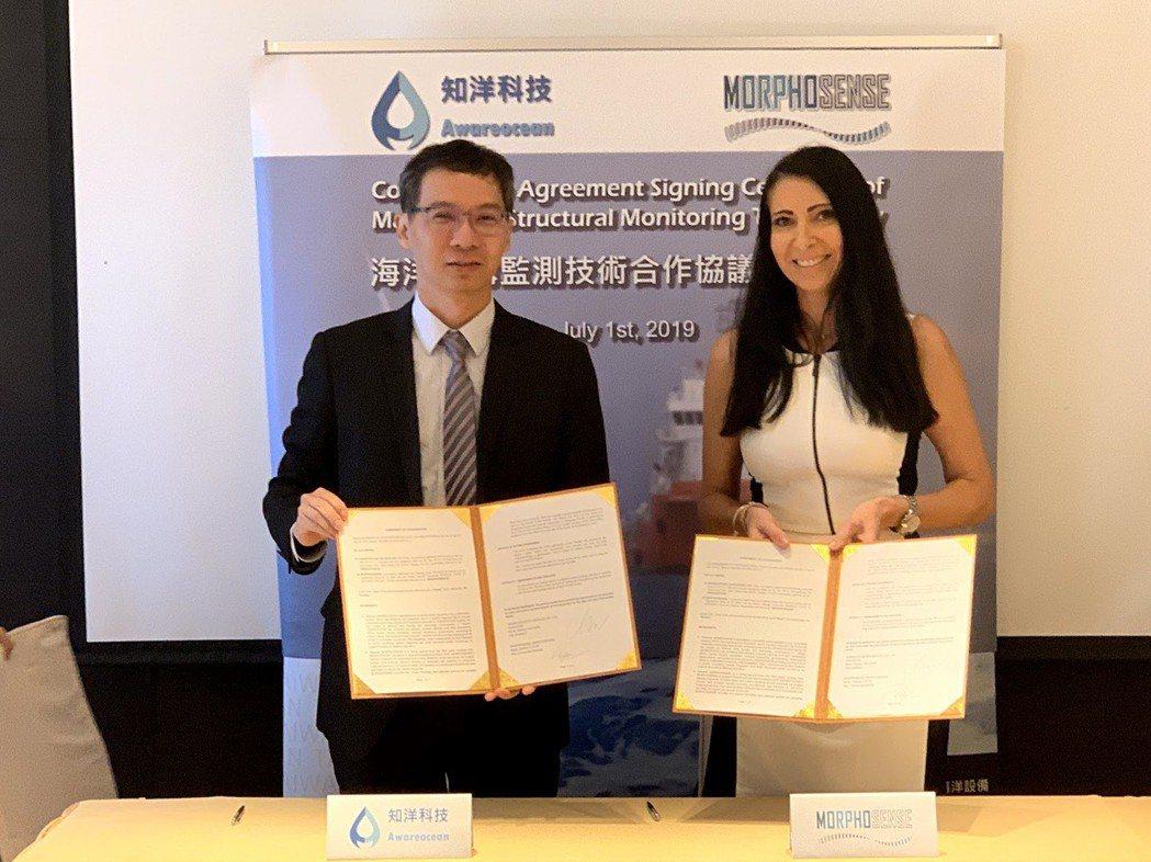 知洋科技日前與法國結構安全監測系統業者MORPHOSENSE結盟簽署合作儀式。左...