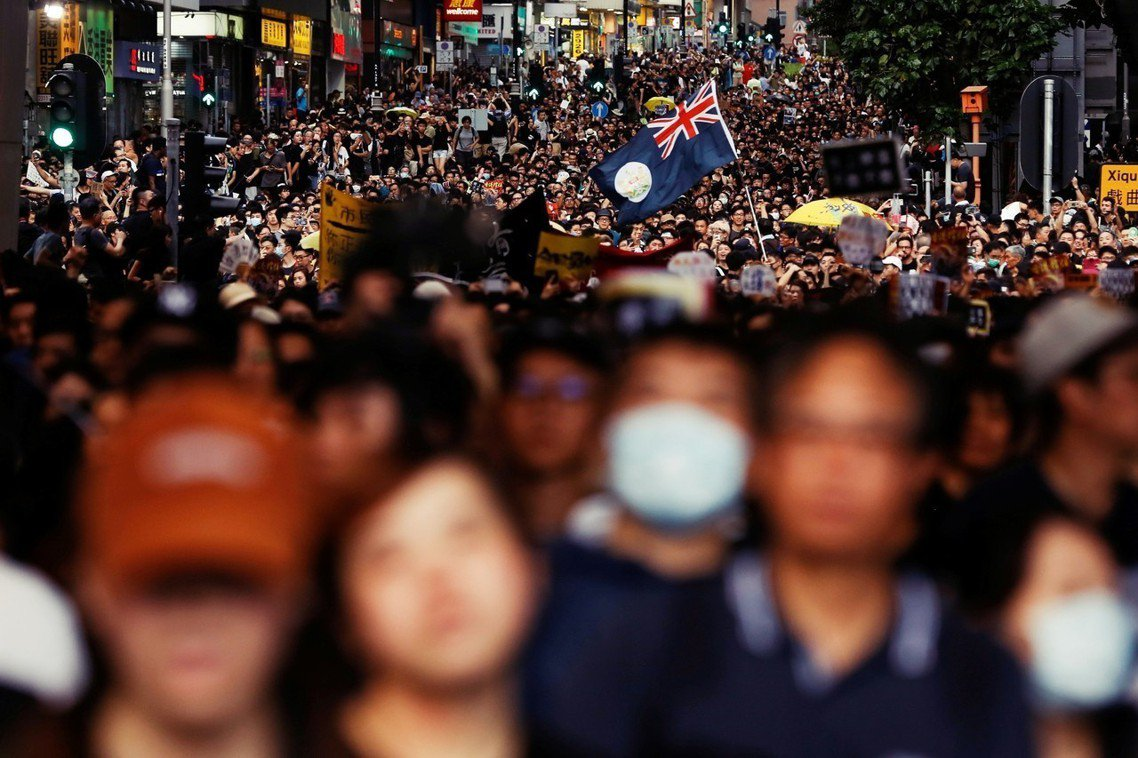 7月7日的「九龍反送中」,是示威行動第一次以九龍為遊行主舞台。 圖/法新社