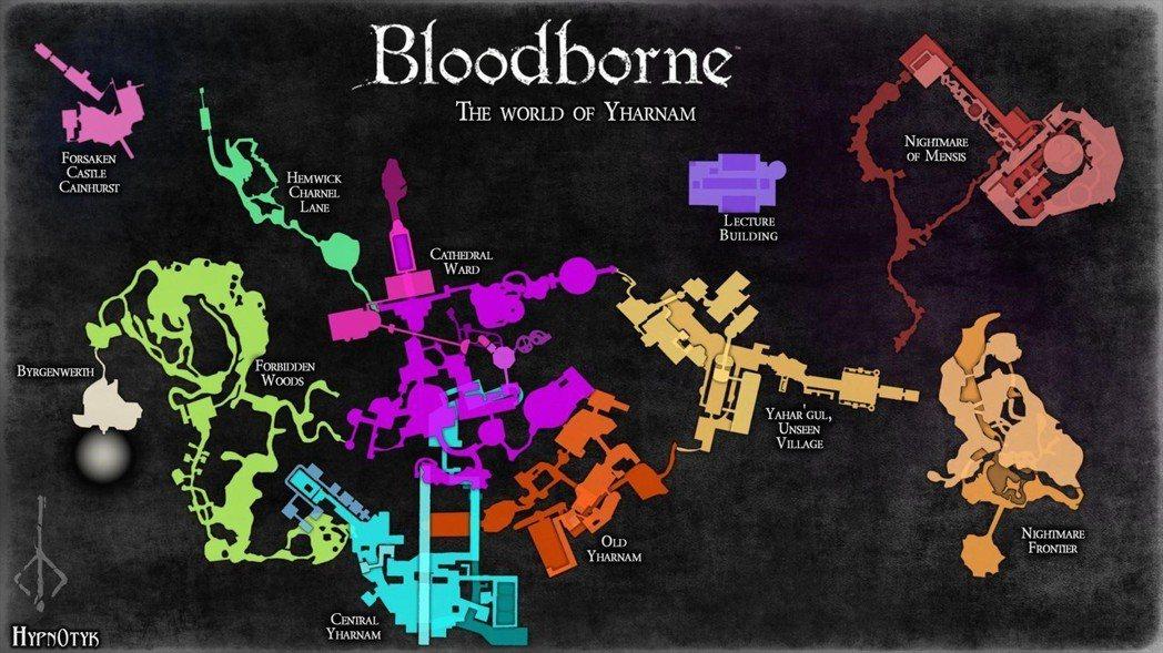 《血源詛咒》地圖。圖片取自 Reddit。