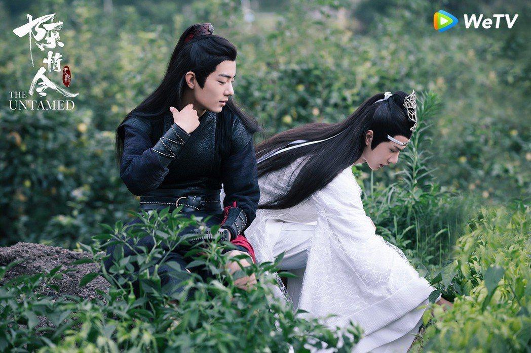 肖戰(左)與王一博在「陳情令」裡互動有愛。圖/WeTV提供